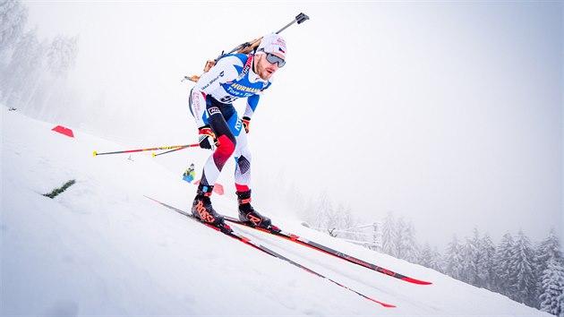 Milan Žemlička na trati stíhacího závodu v Oberhofu