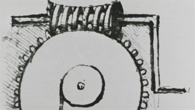 Historickı nákres Leonarda da Vinciho, kterı zachycuje jeho použití šroubu.