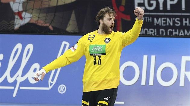 Německı brankář Andreas Wolf se raduje.