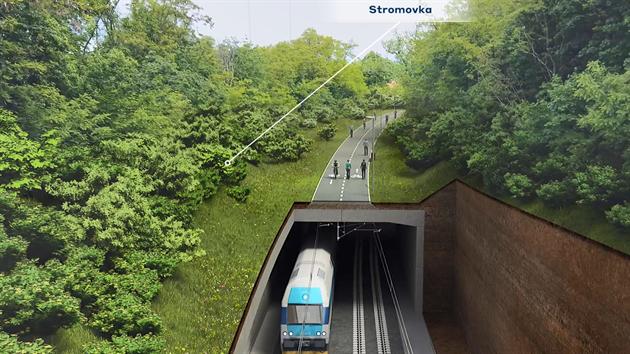 Část tratě, která bude zahloubená pod Stromovkou.
