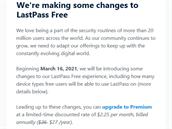 Text z e-mailu zaslaného uživatelům služby LastPass