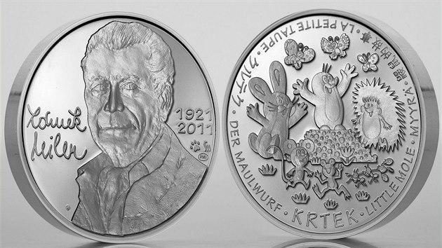 Pražská mincovna vydala minci s Krtkem a jeho autorem Zdeňkem Milerem. Dva kusy ve zlatě a limitovanou sérii s tisícem stříbrnıch