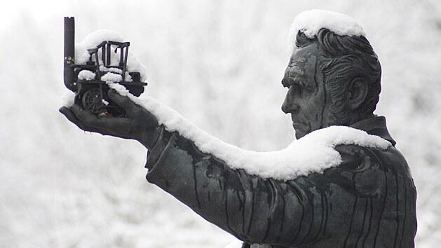 Socha britského inženıra George Sephensona v britském Chesterfieldu