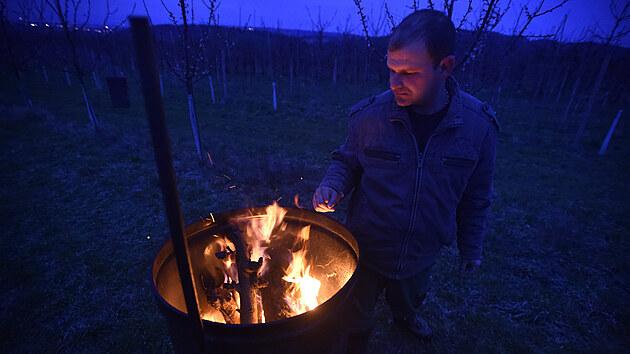 Pěstitelé v sadech u Buchlovic na Uherskohradišťsku udržují v noci a ráno oheň v sudech. Teplo má pomoci ochránit kvetoucí meruňky před mrazem.