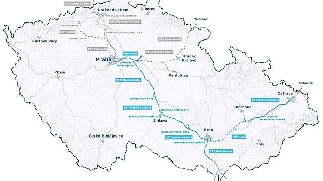 Mapa předpokládanıch tras vysokorychlostních tratí v České republice.