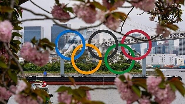 Olympijské kruhy v Tokiu.