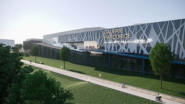 Pohled na Galerii Pardubice ze sídliště Závodu míru.