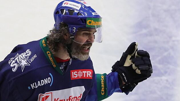 Jaromír Jágr v emocích během rozhodujícího finále 1. ligy s Jihlavou