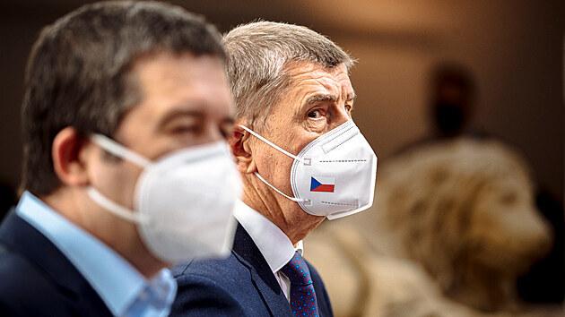 Premiér Andrej Babiš na tiskové konferenci. (20. dubna 2021)