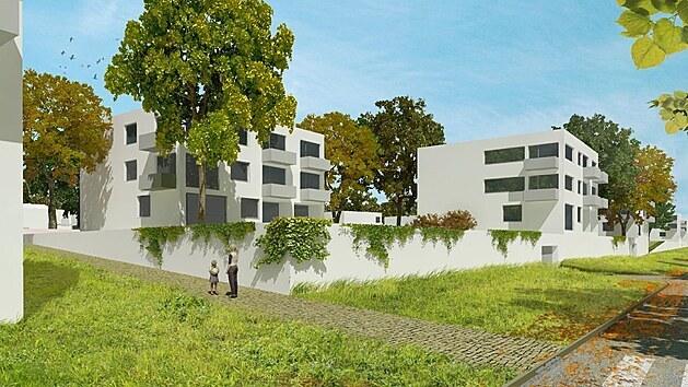 Vizualizace nové čtvrti v lokalitě Kasárna Jičín od vítěze urbanisticko-architektonické soutěže Cuboid architekti.
