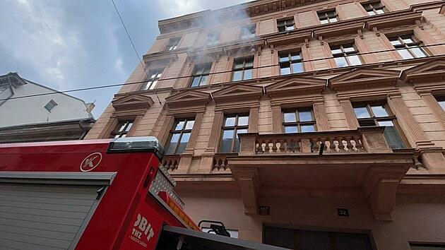 Požár bytu v Lidické ulici v Praze. (21.4.2021)