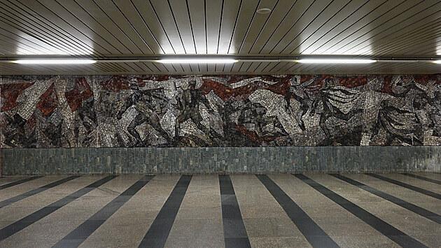 Mozaika Bitva o Sokolovo ve vestibulu stanice Florenc