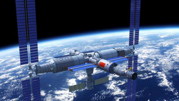 Vizualizace budoucí čínské kosmické stanice Tchien-che (Nebeská harmonie).