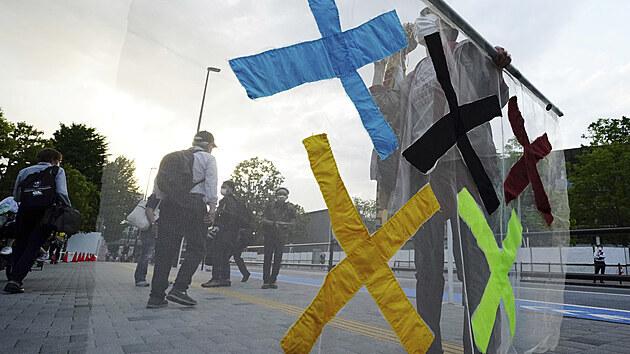 Účastník protestů proti tokijské olympiádě