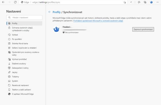 Aktivace synchronizace uživatelského profilu v Edge