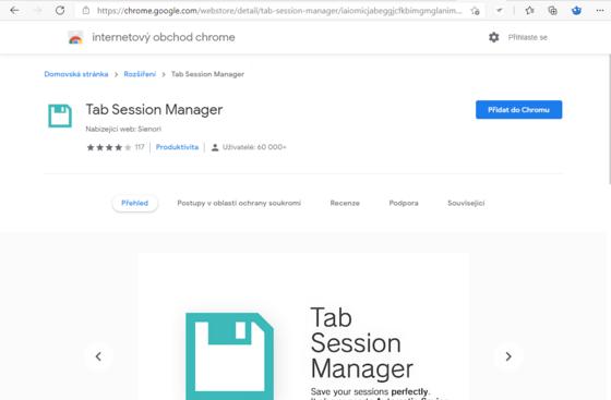 Instalace rozšíření Tab Session Manager