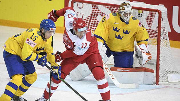 Momentka z utkání Dánsko - Švédsko.