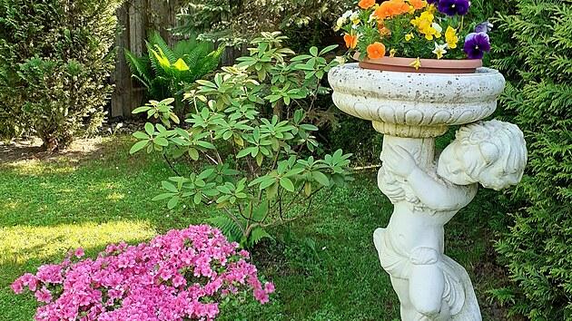 "Paní Jarmila si vnesla do zahrady ""trochu baroka"" v podobě pískovcovıch sošek."