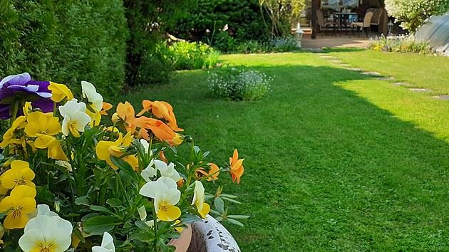 """""""Když se dívám na terasu z protějšího konce zahrady, připadám si skoro jako v Toskánsku,"""" pochvaluje si paní Jarmila."""