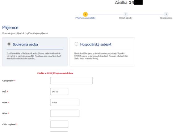 Ukázka zásilkového formuláře