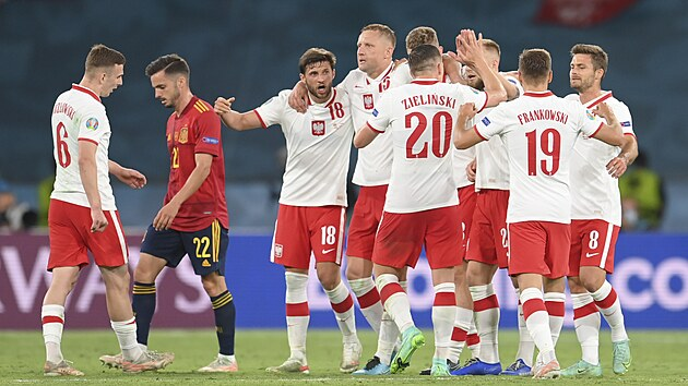 Polští fotbalisté po zápase oslavují remízu 1:1 se Španělskem.