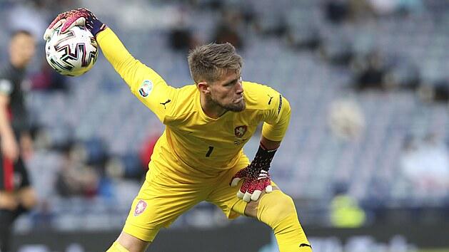 Českı brankář Tomáš Vaclík v zápase proti Chorvatsku.
