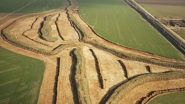 Část skrytıch ploch záchranného archeologického vızkumu v trase budoucí dálnice D55 Staré Město - Babice.