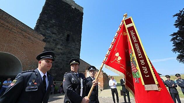 Oslava 75 let od založení Sboru dobrovolnıch hasičů Cheb Háje na Chebském hradě.