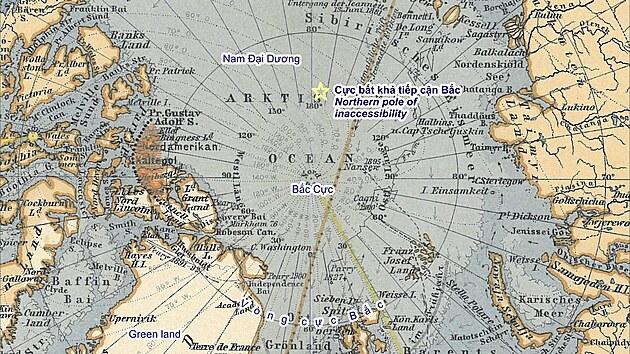 Severní pól na mapě