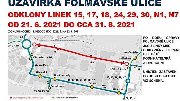 Omezení provozu kvůli uzavřené Folmavské ulici v Plzni.