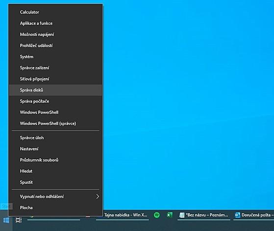 Power nabídka ve Windows se skrıvá pod pravım tlačítkem myši