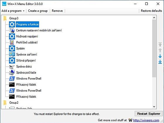 Program Win+X Menu Editor pro úpravu power nabídky