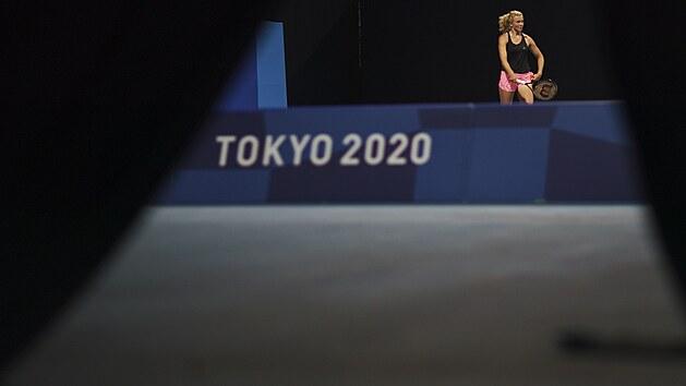 Kateřina Siniaková na tréninku v Tokiu.