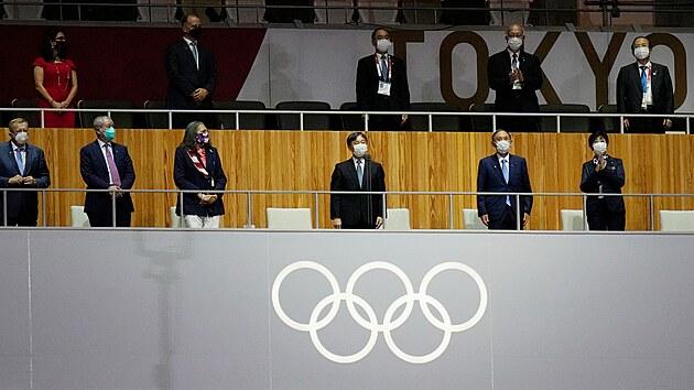 Japonskı císař Naruhito promlouvá k zahajovací ceremonii na olympijském stadionu na Letních olympijskıch hrách 2020. (23. července 2021)