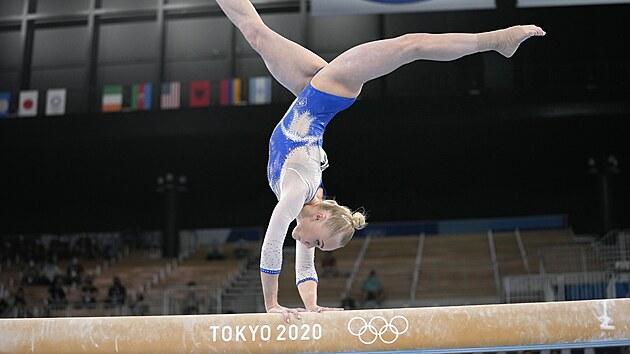 Gymnastika finále tımů ženy. Angelina Melnikova z Ruského olympijského vıboru...