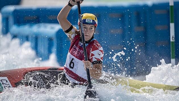 Kanoistka Tereza Fišerová v olympijském finále. (29. července 2021)