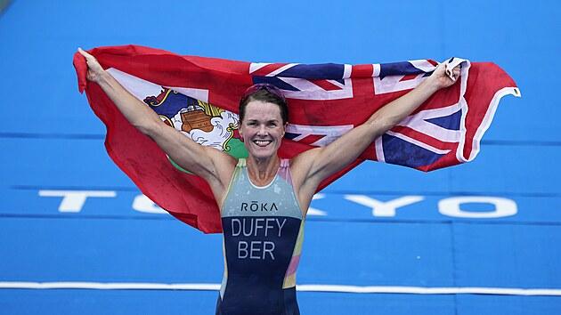 Flora Duffyová slaví první bermudské zlato.
