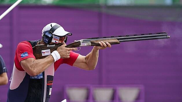 David Kosteleckı v olympijské soutěži v trapu.
