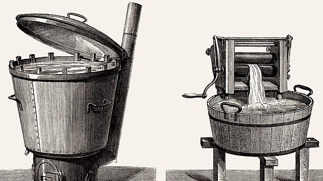 Stará pračka s kamínky a mandl. Dobová ilustrace