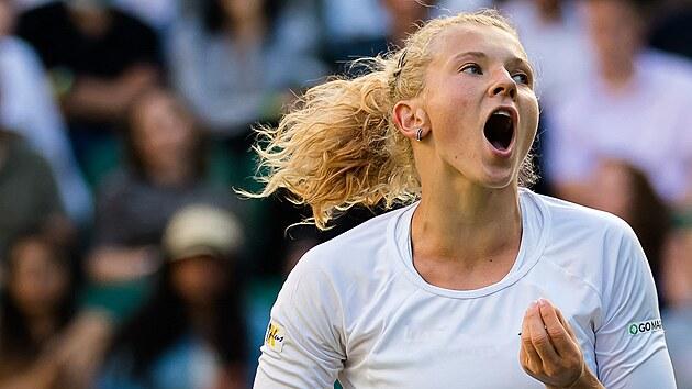 Česká tenistka Kateřina Siniaková a její radost