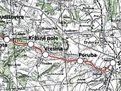 Mapa železniční tratě ze Svinova do Kyjovic
