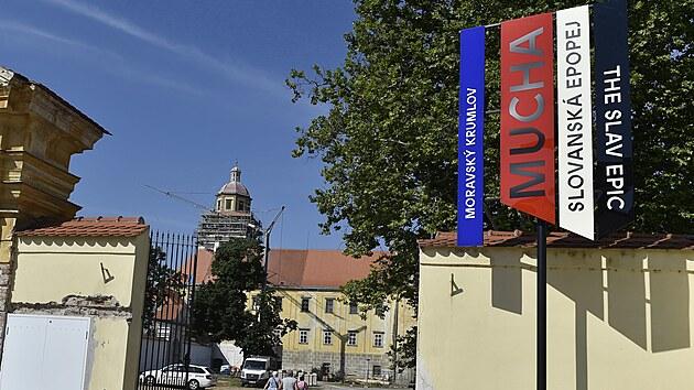 Vıstava Slovanské epopeje Alfonse Muchy je k vidění na zámku v Moravském Krumlově na Znojemsku. (28. července 2021)