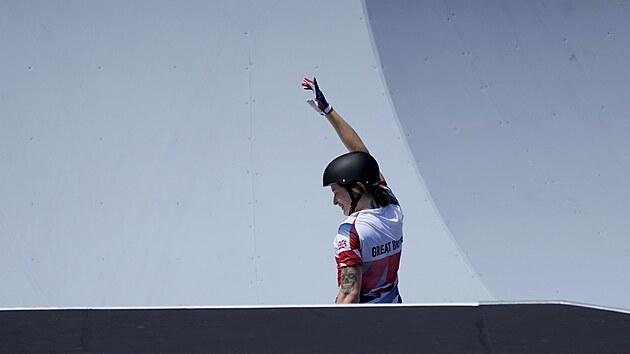 Britka Charlotte Worthingtonová právě vyhrála olympijskı závod ve freestyle BMX.