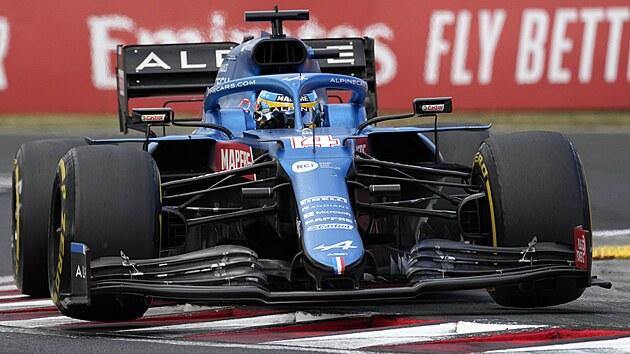 Fernando Alonso z Alpine během Velké ceny Maďarska formule 1