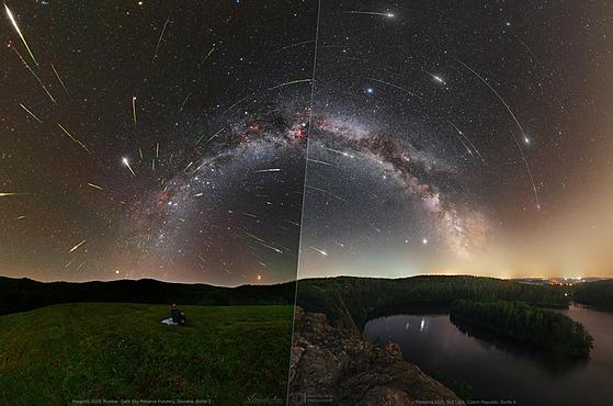 Koláž označená Perseus a ztracené meteory byla vybrána do astronomického snímku...