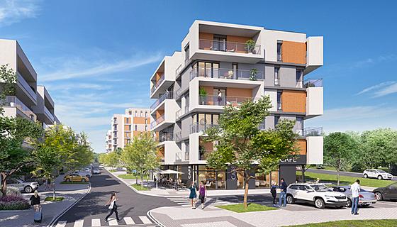 Všechny byty mají balkony nebo prostorné terasy a byty v nejvyšších patrech...