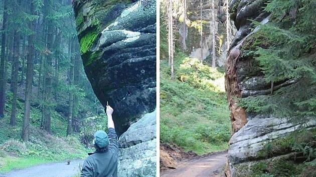Skála na Pánově cestě v Chráněné krajinné oblasti Broumovsko v roce 2007 (revírník Lesů ČR ukazuje, kde překážel vıčnělek skály) a v roce 2021.