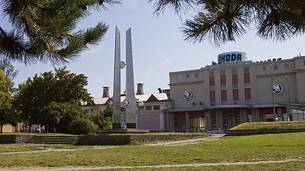 Náměstí E. Škody před někdejší hlavní branou areálu Škoda patří podle strategie přijaté plzeňskou radnicí mezi místa v širším centru, která je třeba oživit, případně zabydlet. (8. 9. 2021)