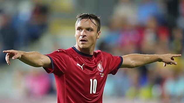 Útočník Stanislav Tecl v reprezentačním dresu během přípravného zápasu s Ukrajinou.