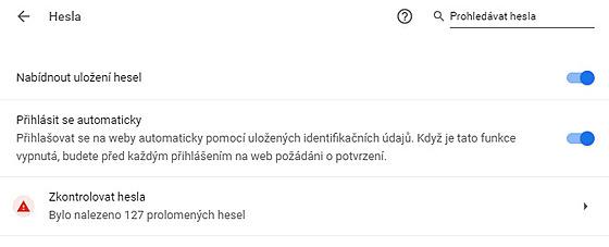 Informace o možnıch prolomenıch heslech v Chrome
